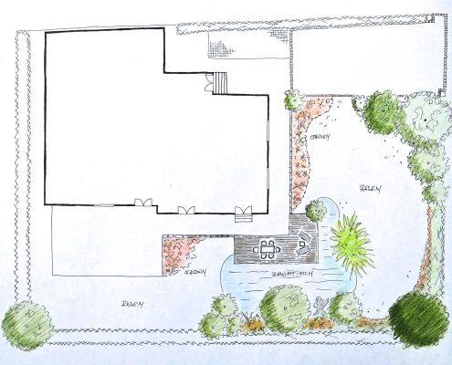 Plan für Teichanlage GartenBaur